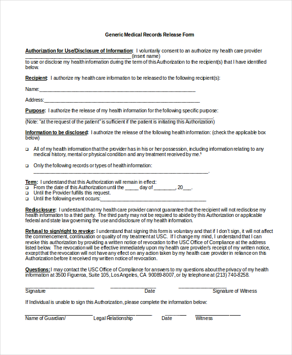 8+ Sample Medical Authorization Release Forms | Sample Templates