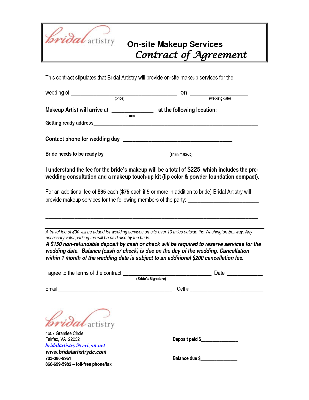 bridalhaircotract | Site Makeup Services Contract Agreement This