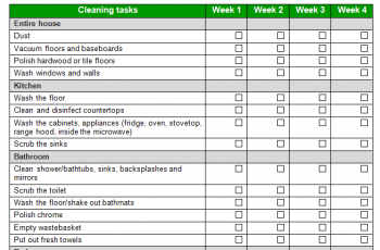 chores schedule template