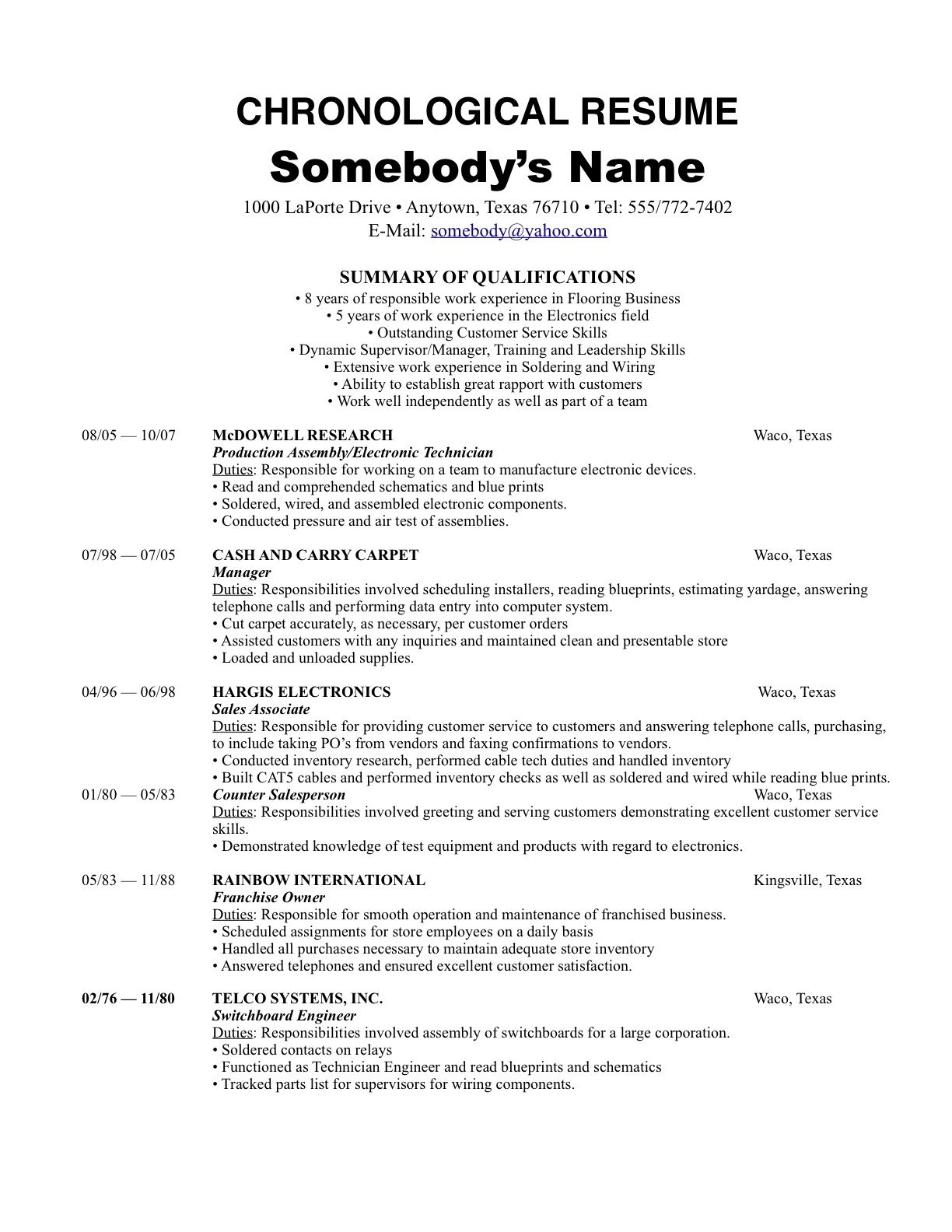 Chronological Resume Examples – Best Resume Template