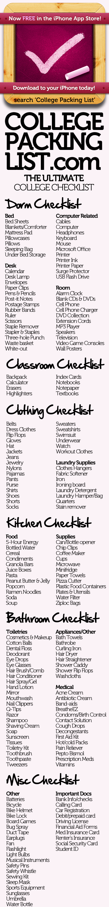 College Packing List Your College Checklist