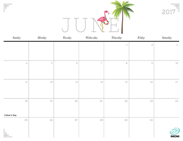 Cute June 2017 Calendar Template For Kids Free HD Images