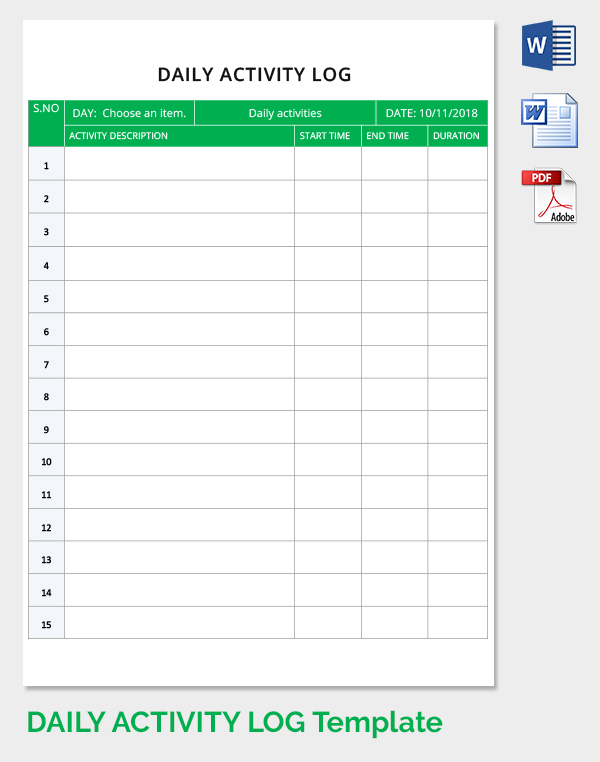 Free Daily Activity Log Template Download in Word, PDF | Free