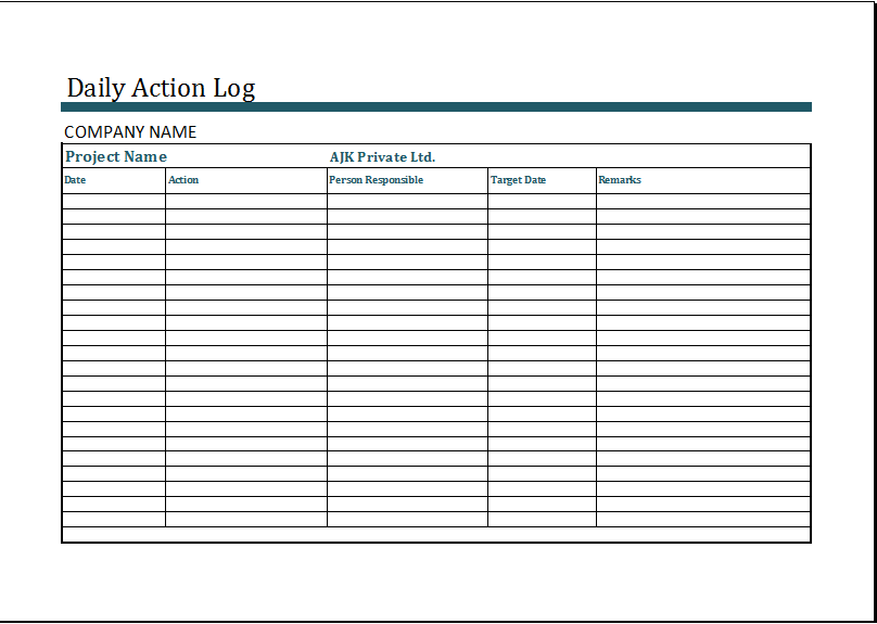 Activity log template excel download
