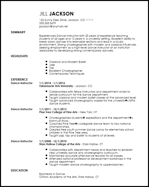 Free Professional Dancer Resume Template | ResumeNow