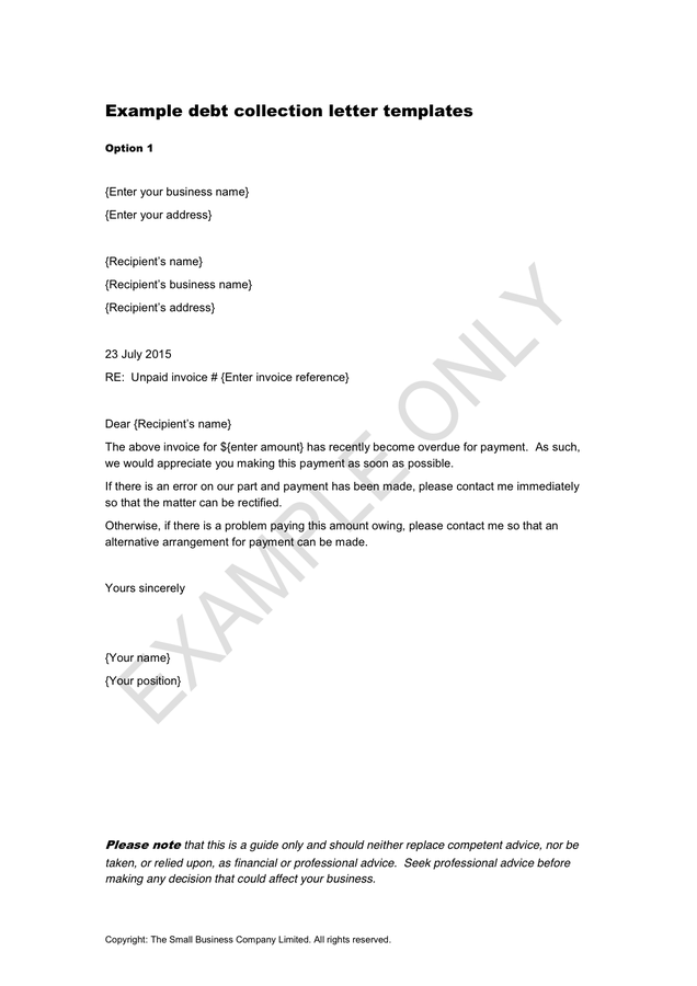 debt collection letter template sample debt collection letter