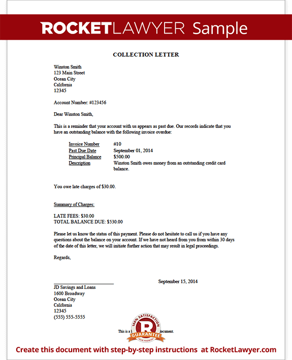 Collection Letter Sample Demand Letter | Rocket Lawyer