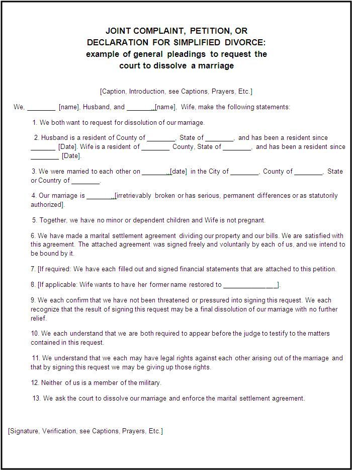 Online Divorce Form | A to Z Free Printable Sample Forms legal