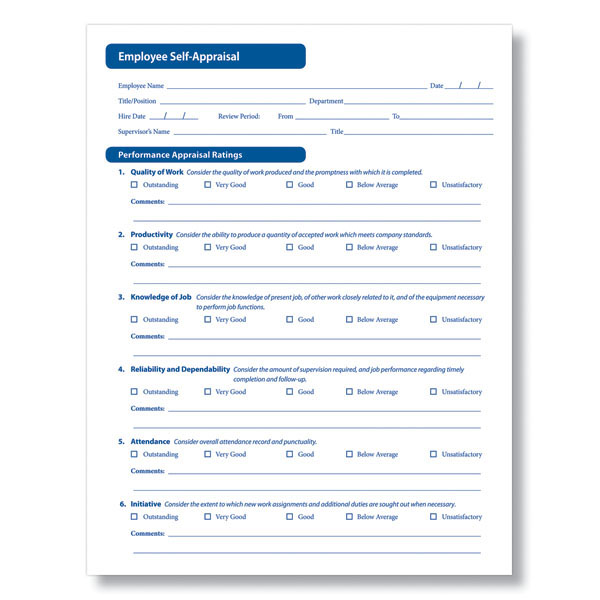 Employee Self Appraisal Form in Downloadable Format