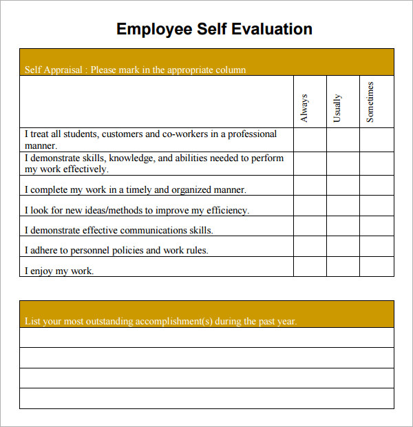 Employee Self Appraisal Past Performance Cheat Sheet by Davidpol
