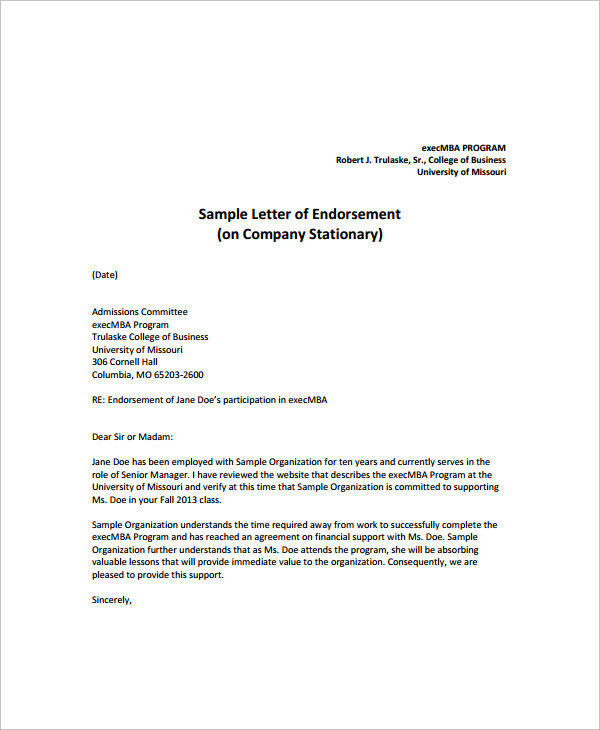 10+ Sample Endorsement Letters – PDF | Sample Templates