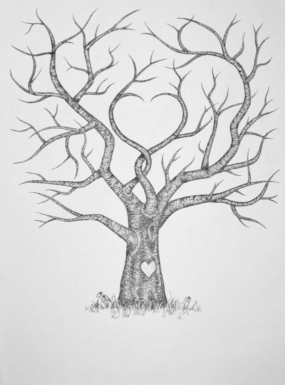 Original Hand Drawn Personalized Fingerprint Wedding Guest Tree