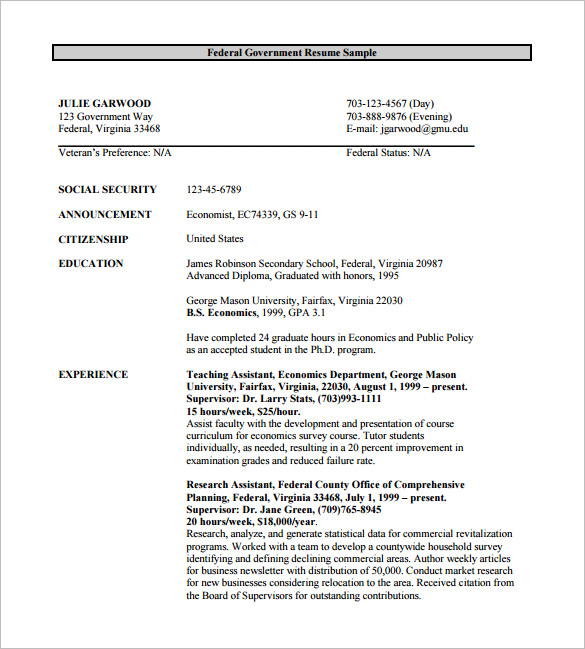 Federal Resume Example Resumes Federal Resume Example – Best