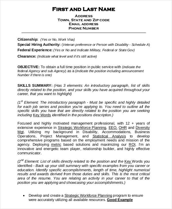 Federal Resume Template 10+ Free Word, Excel, PDF Format Download