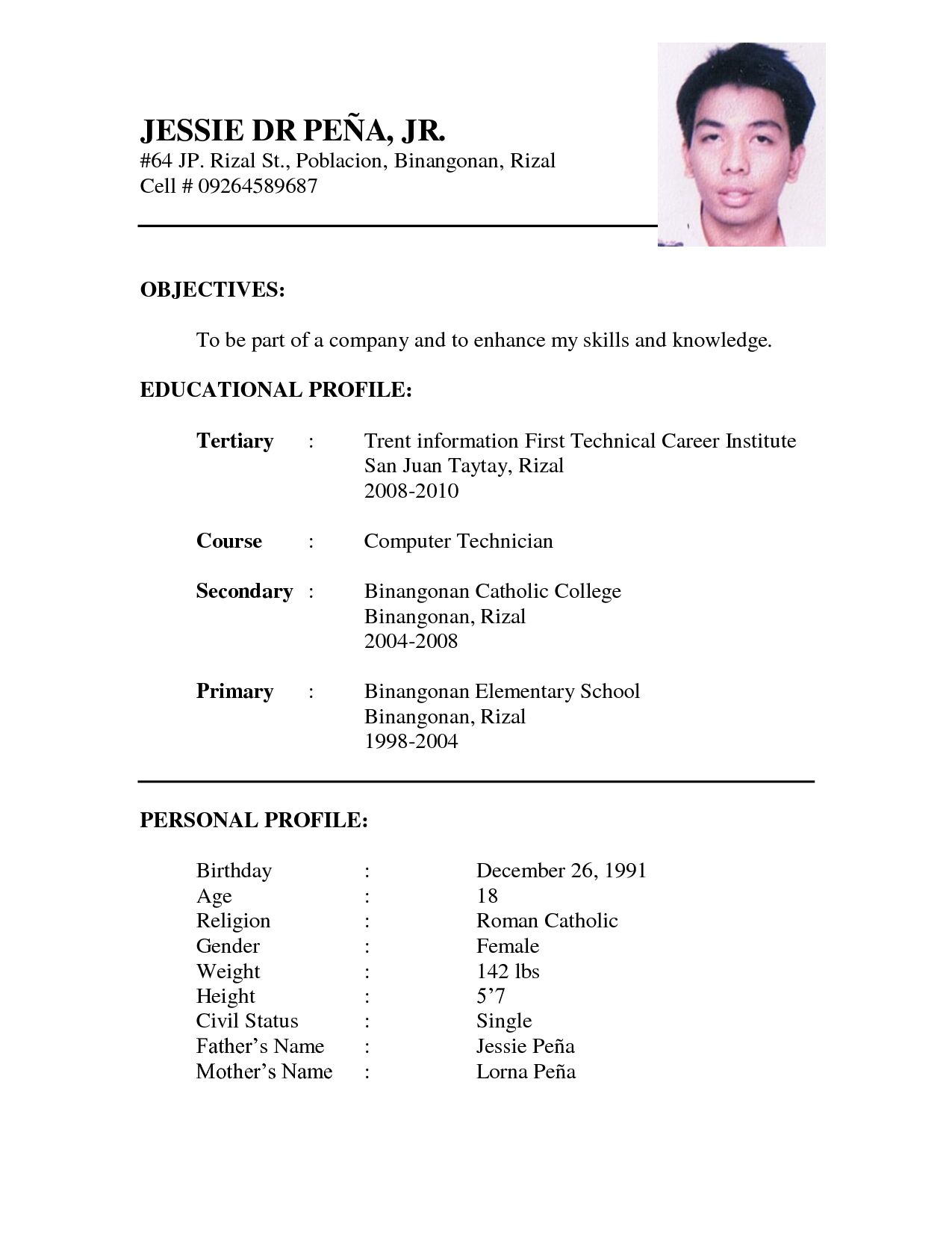 Sample Resume Format | Resume Template