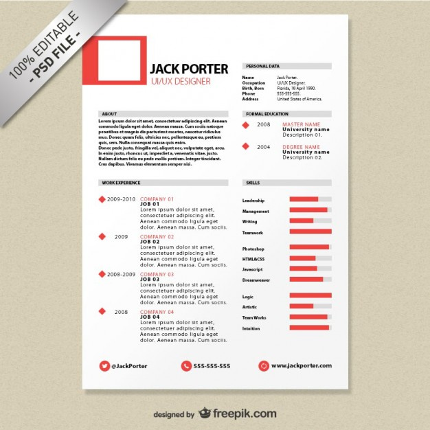 Creative resume template download free PSD file | Free Download