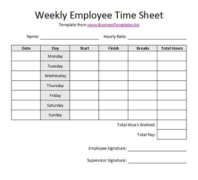Free Printable Timesheet Templates | Free Weekly Employee Time