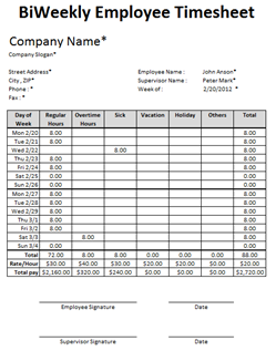 Free Excel Employee Timesheet Template