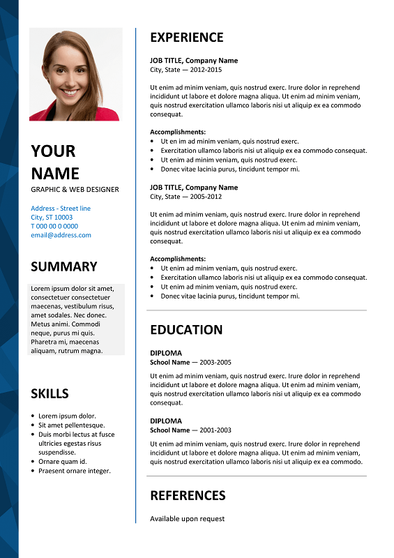 Dalston Free Resume Template Microsoft Word Blue Layout | KUNDAN