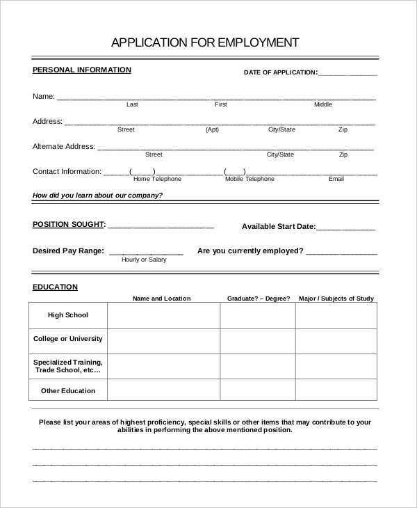 Generic Job Application 8+ Free Word, PDF Documents Downlaod