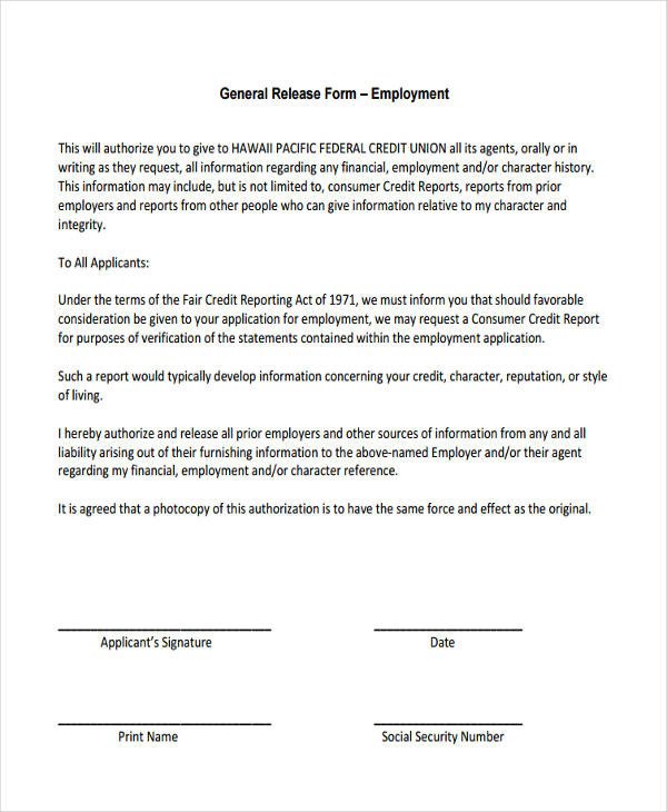 financial release form template general release form template 18