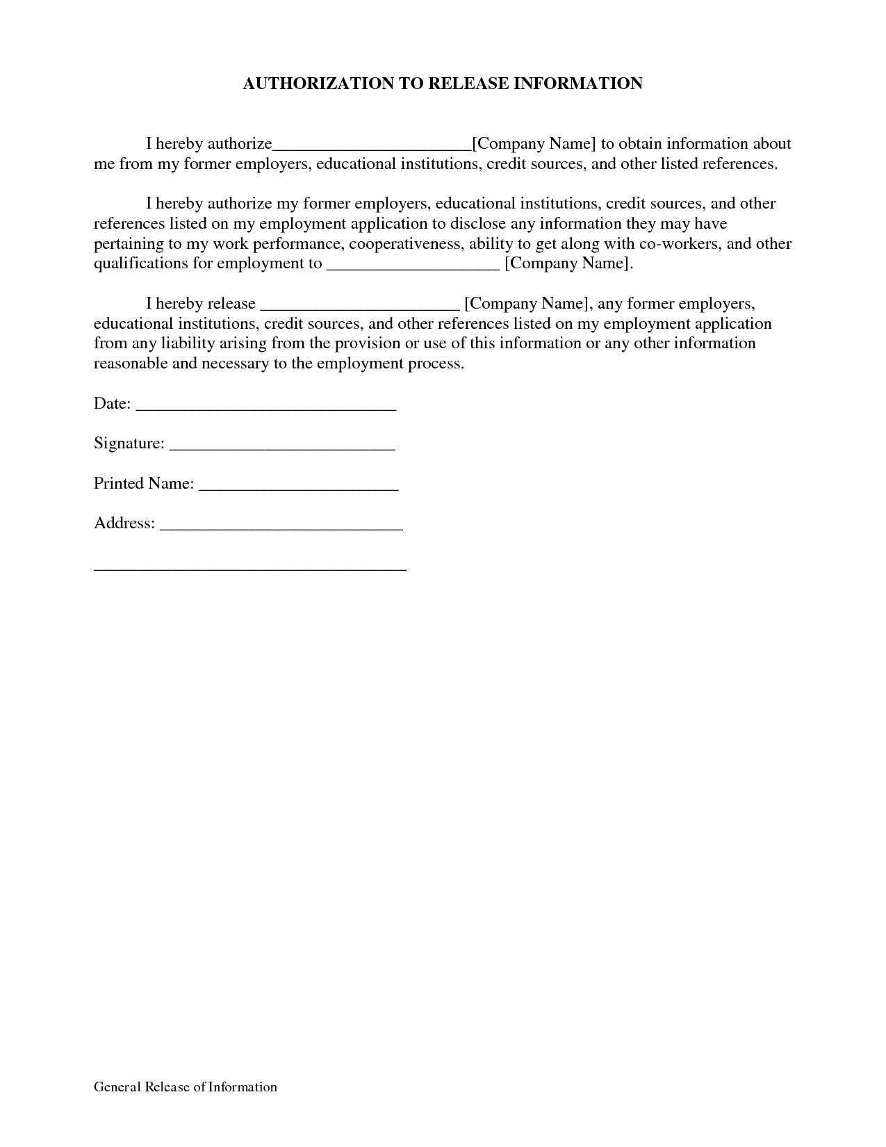 Hipaa Release form Template Beautiful General Release Of