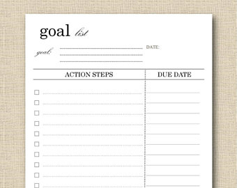 Goal list template | Free Setting Smart Goals Form for 2011