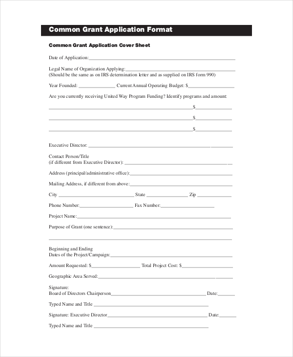 Grant Application Templates 6+ Free Word, PDF Download | Free