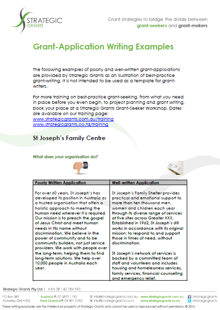 Grant Application Writing Examples