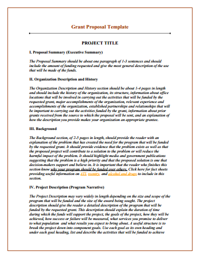 Grant Proposal Template: Download, Create, Edit, Fill and Print
