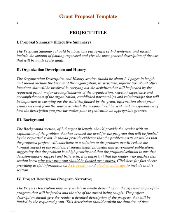 Grant Proposal Template 13+ Free Word, PDF Documents Download