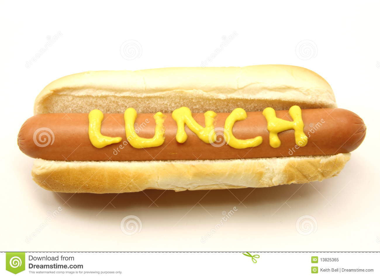 Foot Long Hot Dog With Lunch Written In Mustard Stock Image