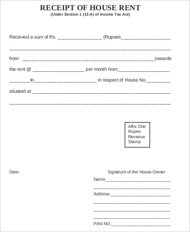 House Rent Receipt Format India Pdf House Rent Receipts Rent