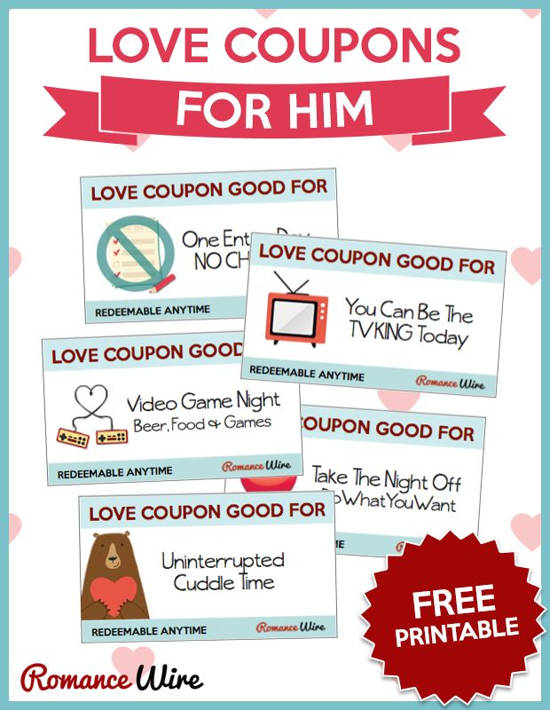 Love Coupons for Him | FREE PRINTABLE @RomanceWire | Romantic