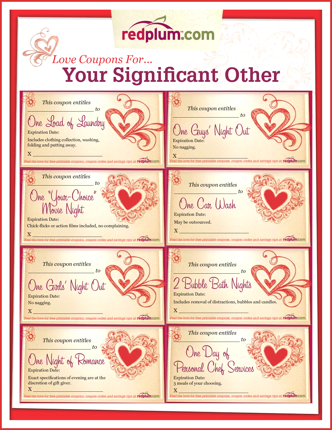 Awesome Love Coupon Template | cobble usa