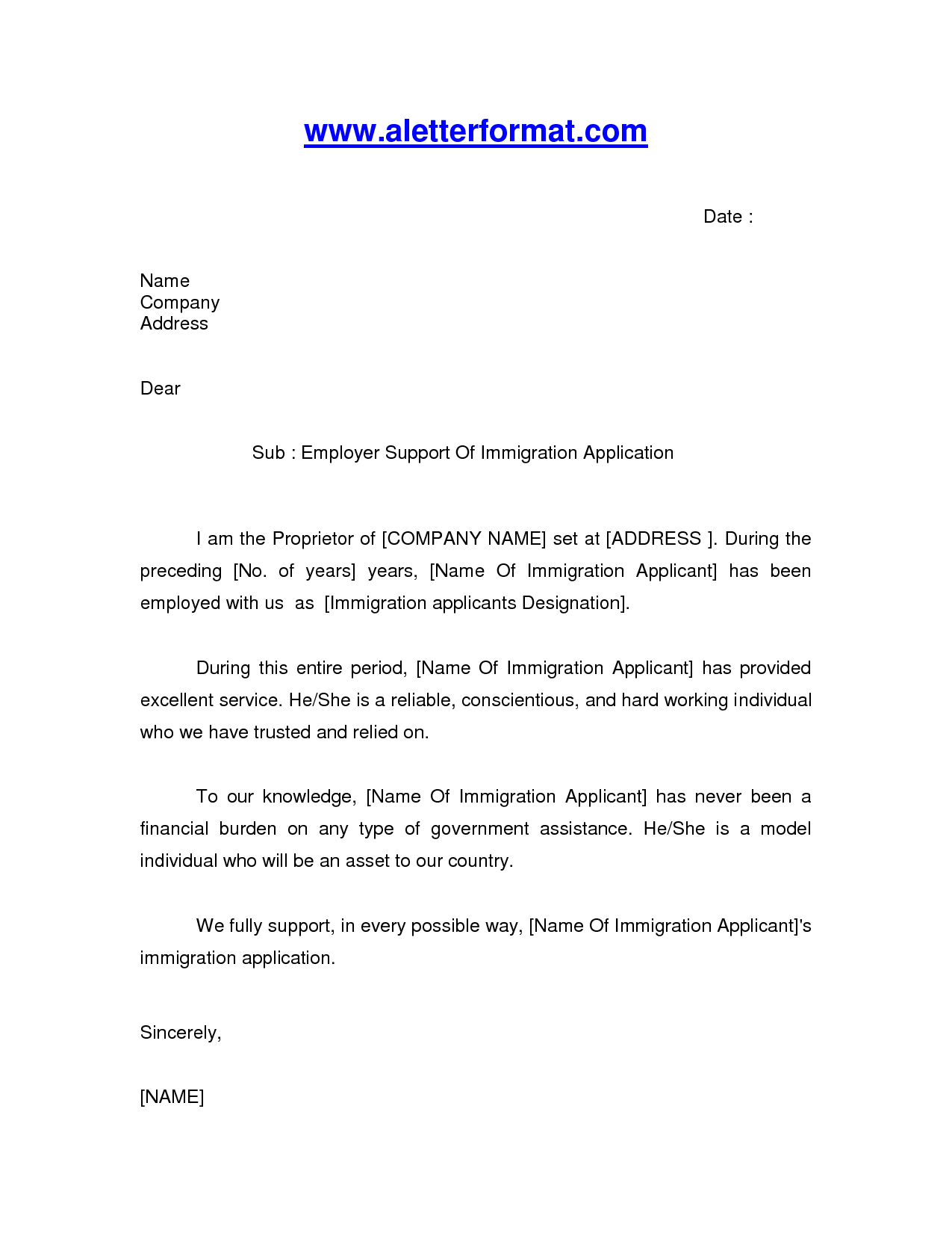 job letter for immigration