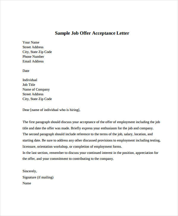 job acceptance letter example Kleo.beachfix.co