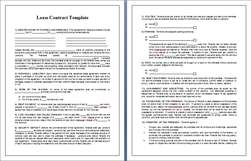 Lease Contract Template | Tips & Guidelines