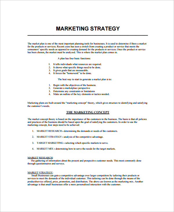 Sample Marketing Strategy Template 7 Free Documents Download In