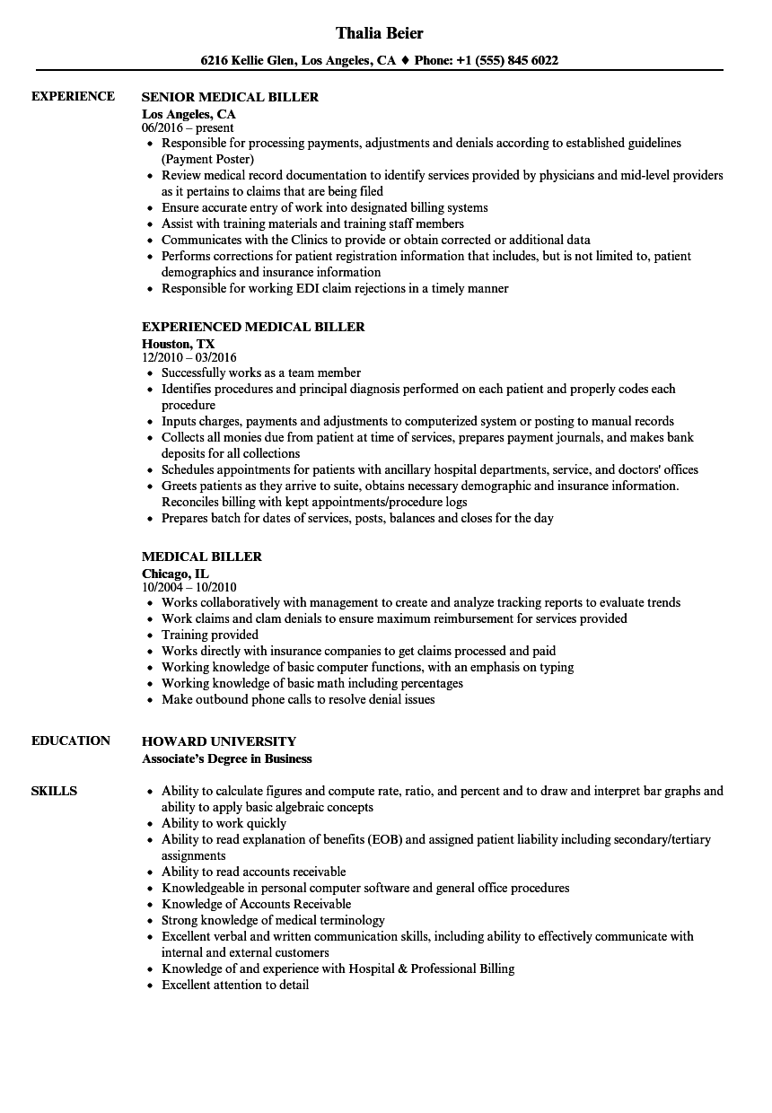Medical Biller Resume Samples | Velvet Jobs