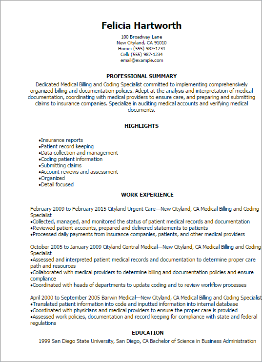 Medical Billing And Coding Specialist Resume Template — Best