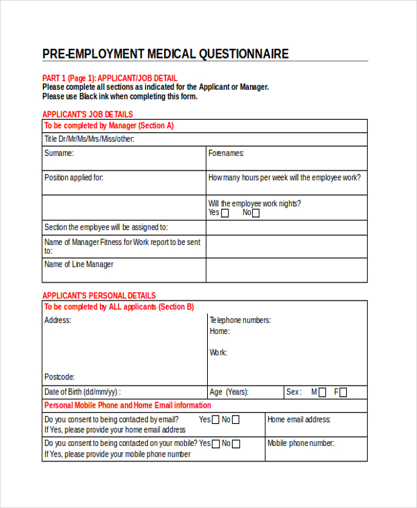 6+ Medical Questionnaire Form Sample Free Sample, Example Format