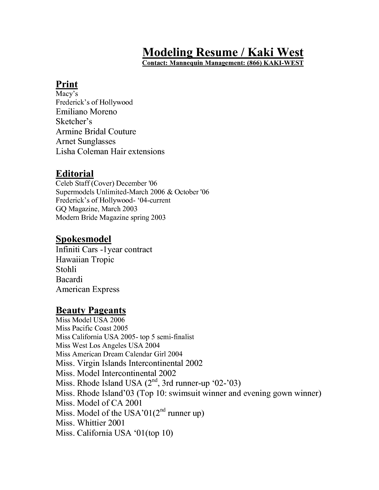 Model Resume Examples Example Of Model Resume As Resume Profile