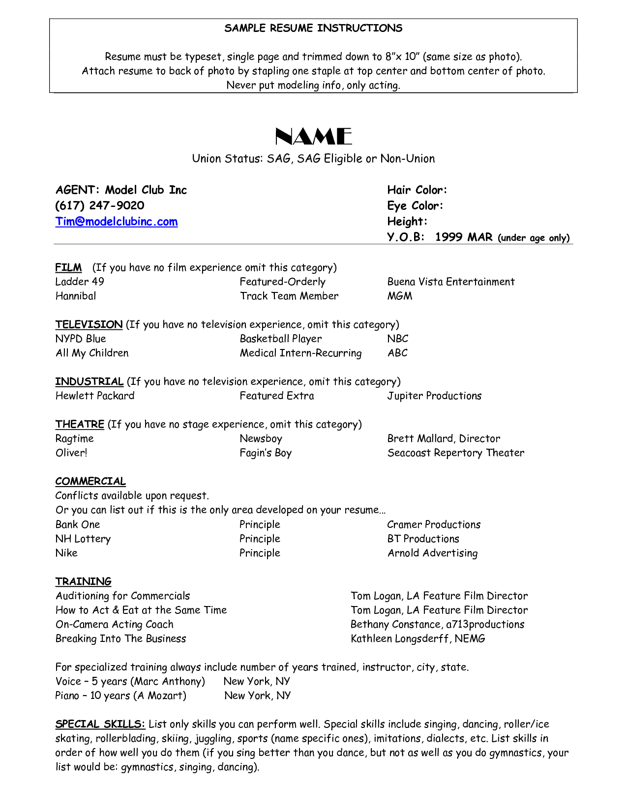 Model Resume Examples Brittney Taylor