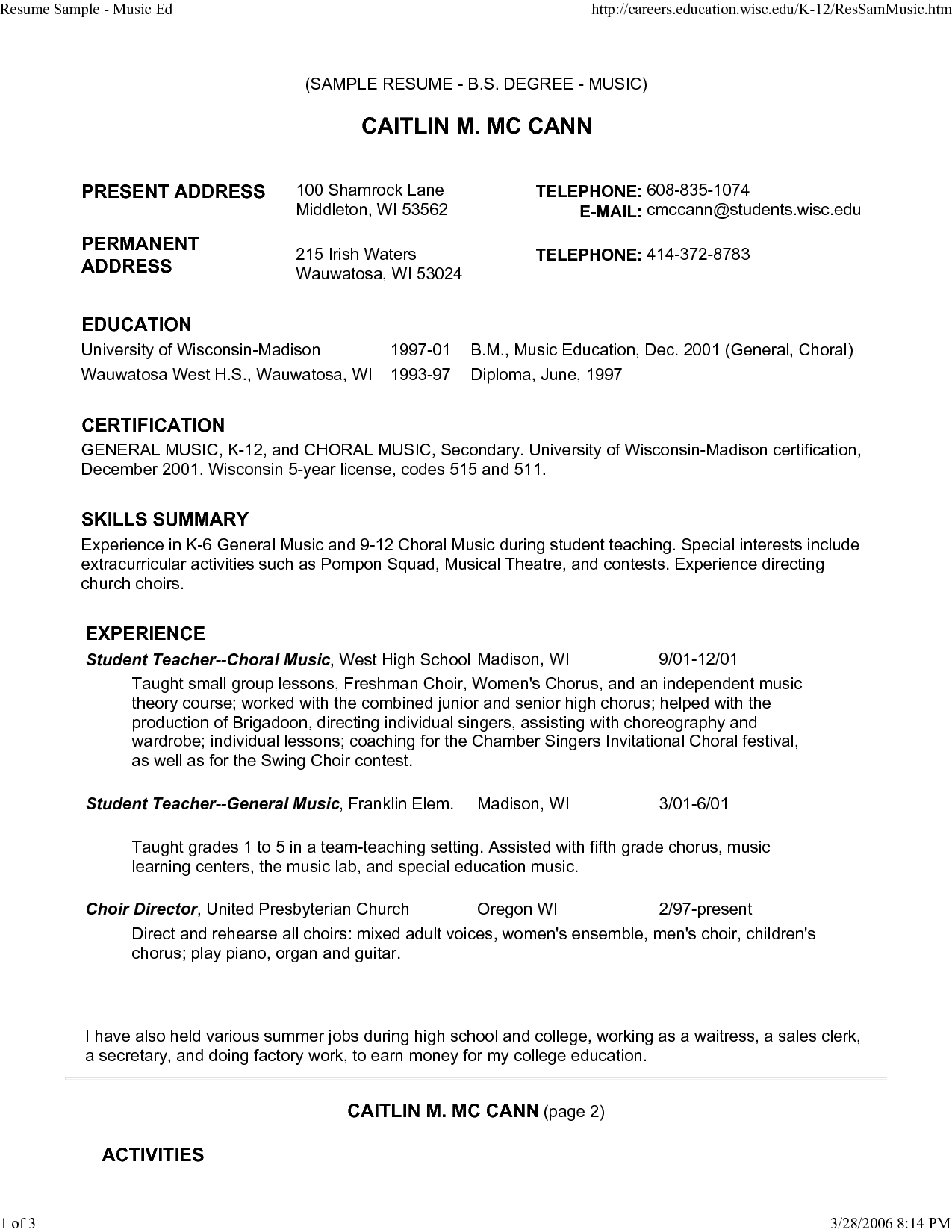 Music Resume Example Superb Sample Musical Theatre Resume Best
