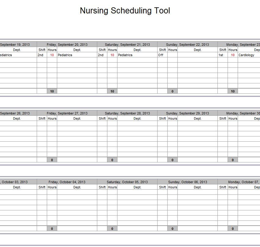 nursing schedule template Kleo.beachfix.co