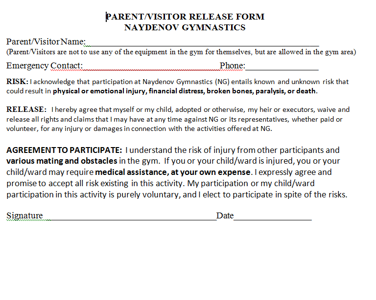 Parent/Visitor Release Form