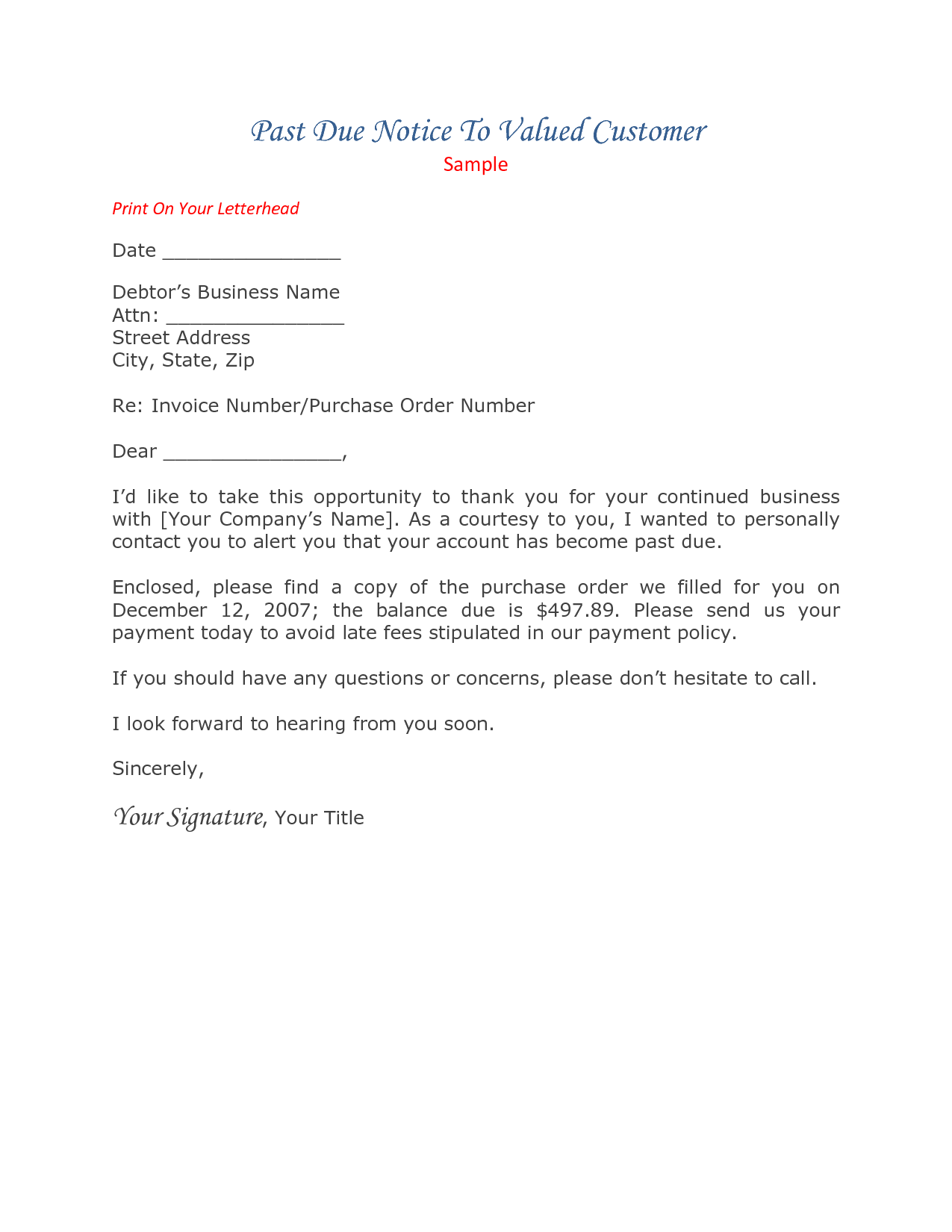 Past Due Letter 60 Days Collections Letter Sample, Template