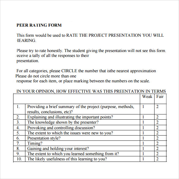 10+ Peer Evaluation Form Samples Free Sample, Example Format