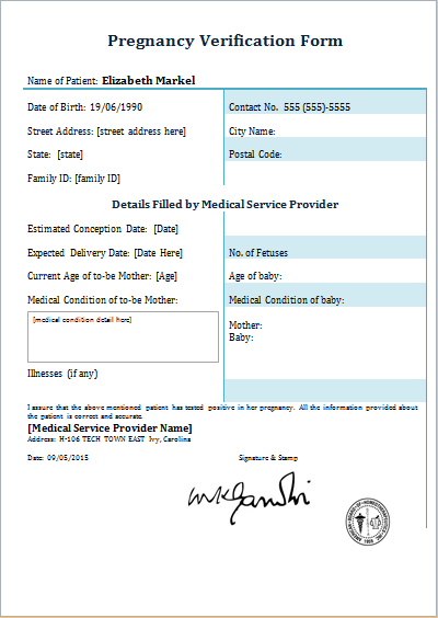 Example Of Pregnancy Confirmation Letter 8 – msdoti69